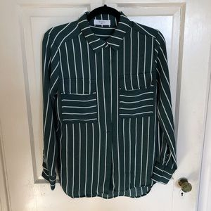 Green and white striped blouse